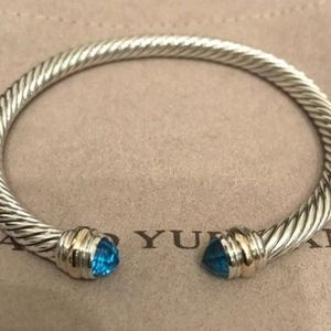 David Yurman Cable Bracelet Blue Topaz Gold 5mm